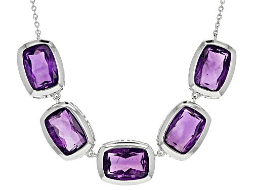 Photo of 26.84ctw Rectangular Cushion African Amethyst Sterling Silver 5-stone Necklace - Size 18