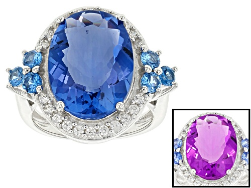 Photo of 10.20ct Color Change Fluorite, .66ctw Lab Created Blue Spinel & .37ctw White Zircon Silver Ring - Size 6