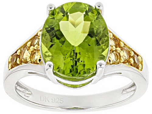 Photo of 4.51CT OVAL MANCHURIAN PERIDOT(TM) & .30CTW ROUND CITRINE STERLING SILVER RING - Size 5