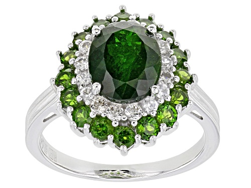 Photo of 3.80ctw Oval and Round Russian Chrome Diopside With .68ctw  White Zircon Rhodium Over Silver Ring - Size 9