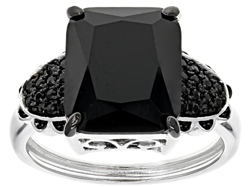 Photo of 4.88ctw Rectangular and Round Black Spinel Sterling Silver Ring - Size 5