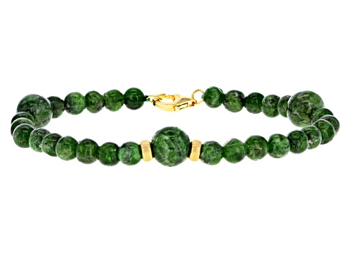 Photo of 35.25ctw 4,8mm Round Russian Chrome Diopside 18k Yellow Gold Over Silver Bead Bracelet - Size 7.25