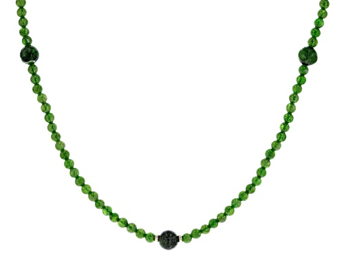 Photo of 4mm and 8mm round Russian Chrome Diopside 18k Yellow Gold Over Silver Bead Necklace. - Size 18