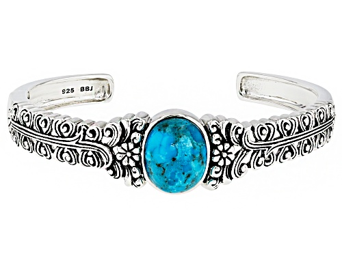Photo of 16x14mm Oval Turquoise Sterling Silver Cuff Bracelet - Size 8