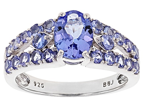 Photo of 1.78CTW ROUND AND OVAL TANZANITE SILVER RING - Size 11