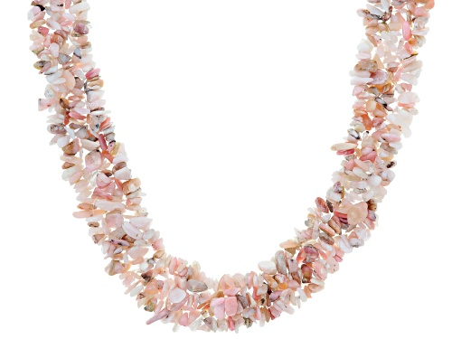 Photo of Free Form Peruvian Pink Opal Chip Sterling Silver Knitted Multi-Strand Necklace - Size 19