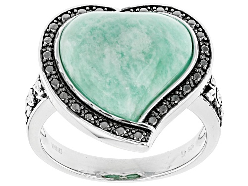 Photo of 14mm Heart Shape Cabochon Amazonite Sterling Silver Solitaire Ring - Size 7