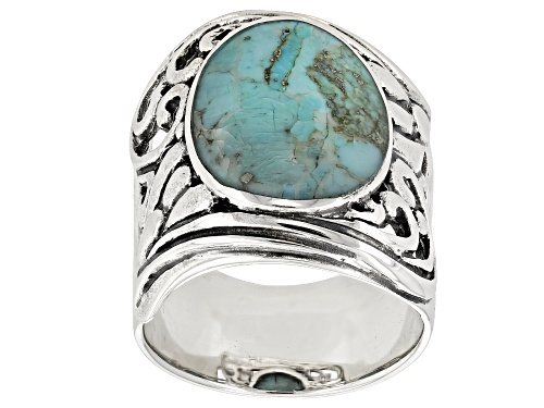 Photo of 16X12MM OVAL TURQUOISE STERLING SILVER SOLITAIRE RING - Size 6