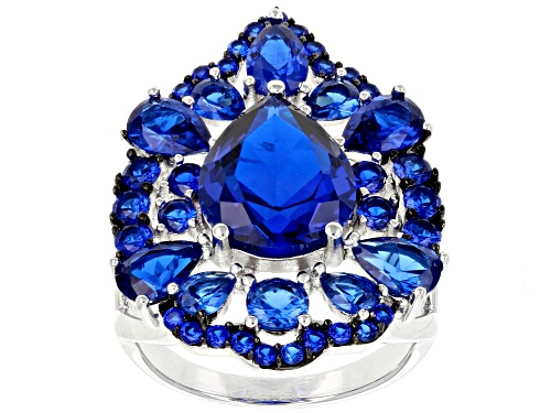 Photo of 7.76CTW PEAR SHAPE AND ROUND LAB CREATED BLUE SPINEL RHODIUM OVER SILVER RING - Size 5
