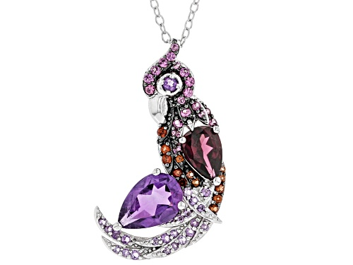 Photo of 2.39ctw Round & Pear Shape Amethyst, Rhodolite & Vermelho Garnet™ Silver Parrot Pendant W/Chain