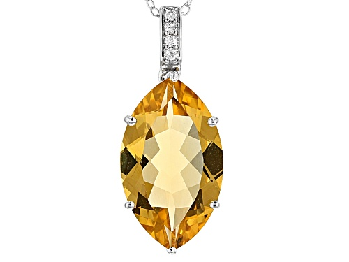 Photo of 7.24CT MARQUISE GOLDEN CITRINE AND .10CTW ROUND WHITE ZIRCON RHODIUM OVER SILVER PENDANT WITH CHAIN