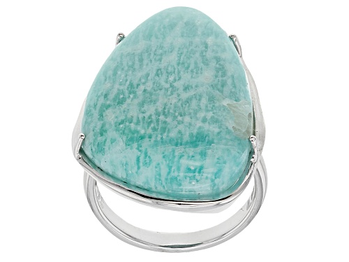 Photo of 28x18mm Fancy Shape Amazonite Sterling Silver Solitaire Ring - Size 6