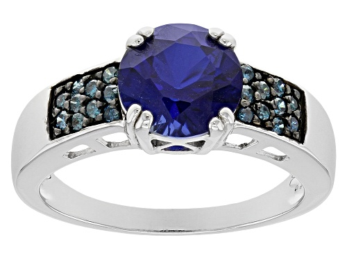 Photo of 2.24CT ROUND LAB CREATED BLUE SAPPHIRE WITH .15CTW ROUND BLUE DIAMONDS STERLING SILVER RING - Size 7