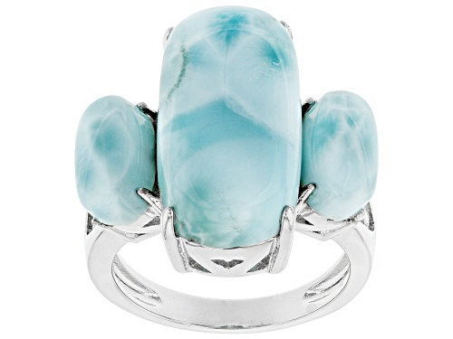 Photo of 20X10MM AND 10X5MM CUSHION CABOCHON LARIMAR RHODIUM OVER SILVER 3-STONE RING - Size 7