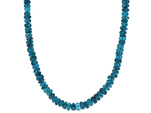 Photo of GRADUATED 3MM - 5MM NEON APATITE RONDELLE BEAD STERLING SILVER NECKLACE STRAND - Size 18
