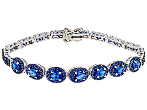 Photo of 7.26ctw oval and round Lab created blue spinel sterling silver bracelet - Size 8