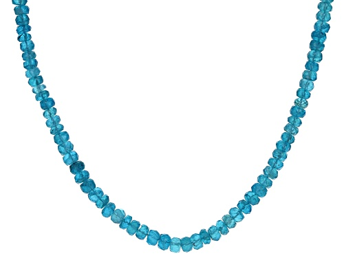 Photo of APPROXIMATELY 50.00CTW 3-4MM NEON APATITE RONDELLE BEAD STERLING SILVER NECKLACE STRAND - Size 20