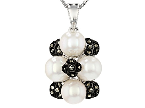 Photo of 6.5-7MM WHITE CULTURED FRESHWATER PEARL WITH MARCASITE STERLING SILVER PENDANT WITH CHAIN