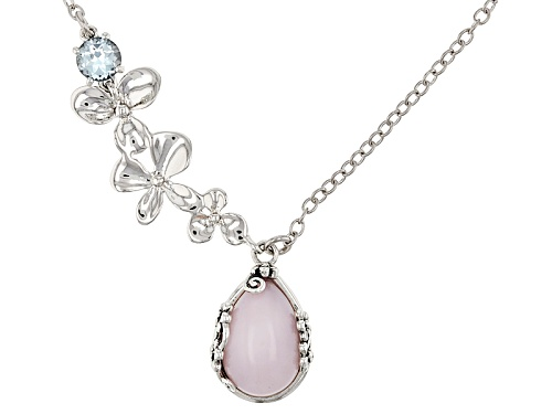 Photo of 16X11MM PEAR SHAPE PERUVIAN PINK OPAL WITH .94CT WHITE TOPAZ SILVER FLOWER NECKLACE - Size 18