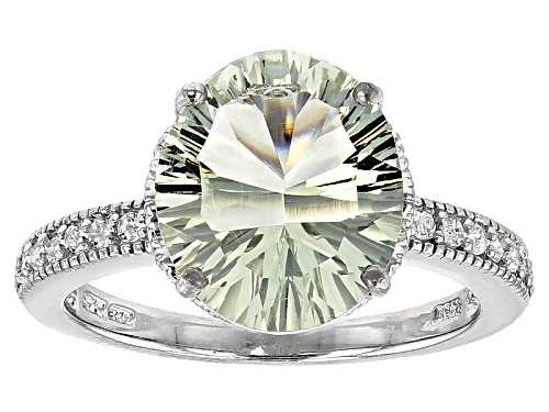 Photo of 3.65ct Oval Millenial Cut Prasiolite With .14ctw Round White Topaz Sterling Silver Ring - Size 12