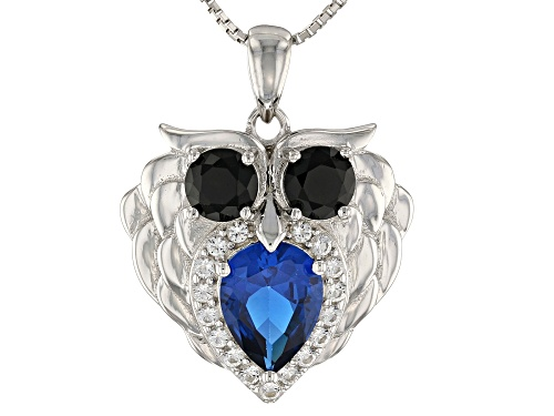 Photo of 2.67CTW LAB BLUE SPINEL, BLACK SPINEL AND  WHITE TOPAZ RHODIUM OVER SILVER OWL PENDANT WITH CHAIN