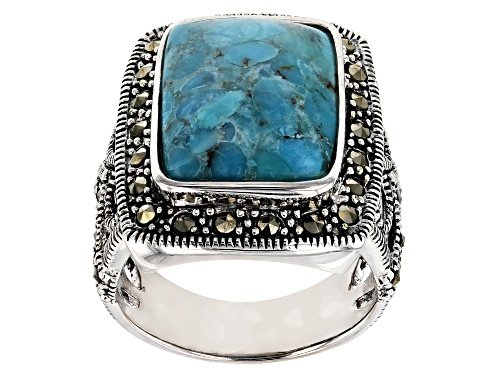 Photo of 16X12MM RECTANGULAR CUSHION TURQUOISE WITH 1.40MM ROUND GRAY MARCASITE SILVER RING - Size 6