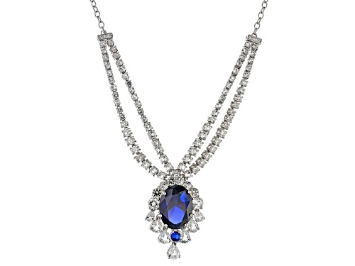 Photo of 7.62CTW MIXED SHAPE LAB CREATED BLUE SPINEL & 7.17CTW WHITE ZIRCON RHODIUM OVER SILVER NECKLACE - Size 18