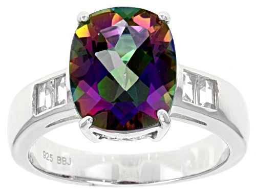 Photo of 3.92CT Rectangular Cushion Green Mystic Topaz® & .35ctw Baguette White Topaz Sterling Silver Ring - Size 9