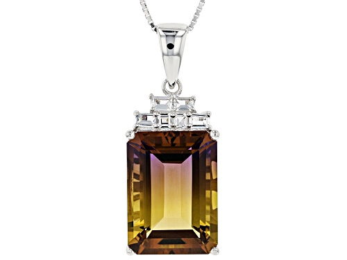 Photo of 12.84CT EMERALD CUT LAB AMETRINE WITH .37CTW MIXED SHAPE WHITE TOPAZ SILVER PENDANT WITH CHAIN