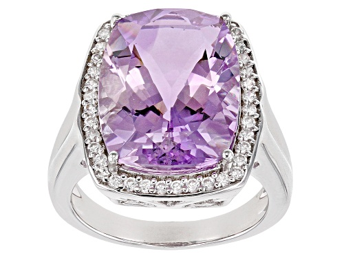 Photo of 7.01ct rectangular cushion Orchid Amethyst with .37 ctw zircon sterling silver ring - Size 9