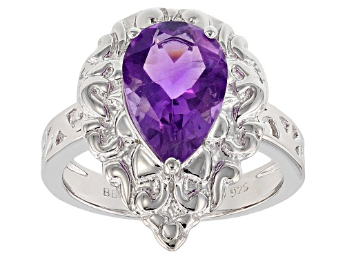 Photo of 2.50ct Pear Shape African amethyst sterling silver solitaire ring - Size 8