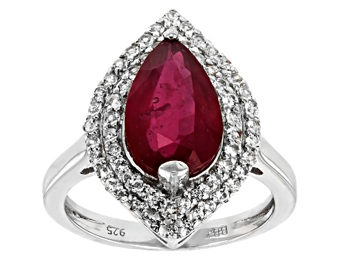 Photo of 3.60CT PEAR SHAPE MAHALEO® RUBY WITH .36CTW ROUND WHITE TOPAZ STERLING SILVER RING - Size 11