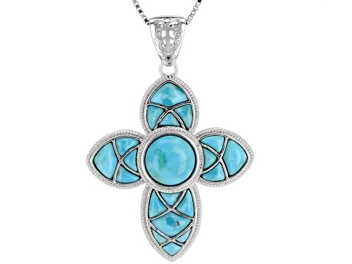 Photo of 8MM ROUND & MIXED FREE-FORM CABOCHON TURQUOISE RHODIUM OVER SILVER CROSS PENDANT WITH CHAIN