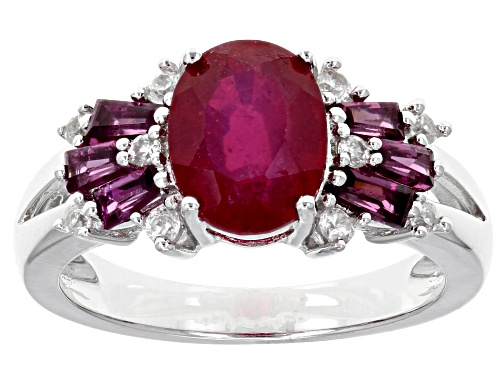 Photo of 2.55CT OVAL MAHALEO(R) RUBY WITH .51CTW BAGUETTE RHODOLITE AND .21CTW ROUND WHITE ZIRCON SILVER RING - Size 12