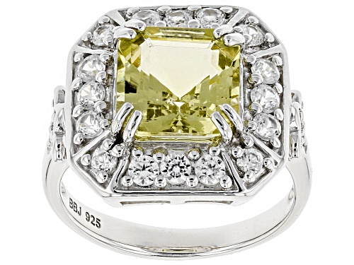 Photo of 3.36CT ASSCHER CUT YELLOW APATITE WITH 1.20CTW ROUND WHITE ZIRCON STERLING SILVER RING - Size 9