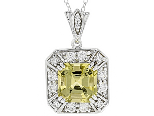 Photo of 4.53CT SQUARE ASSCHER CUT YELLOW APATITE WITH 1.08CTW ROUND WHITE ZIRCON SILVER PENDANT WITH CHAIN