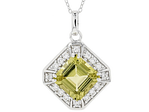 Photo of 5.86CT SQUARE ASSCHER CUT YELLOW APATITE WITH .56CTW ROUND WHITE ZIRCON SILVER PENDANT WITH CHAIN