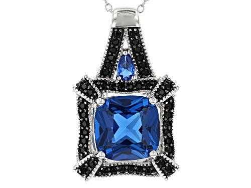 Photo of 6.17CTW LAB CREATED BLUE SPINEL WITH .99CTW BLACK SPINEL RHODIUM OVER SILVER PENDANT WITH CHAIN
