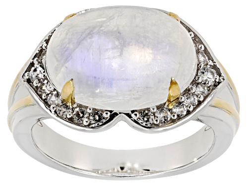 Photo of 14x10mm Rainbow Moonstone with .40ctw White Zircon 14K Gold over Silver and Silver two-tone Ring - Size 8