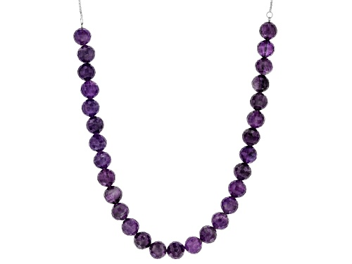 "Photo of 84.60ctw 8mm and 3.75mm Round Amethyst Sterling Silver Bolo Necklace, Adjusts To Approximately 27"" - Size 27"