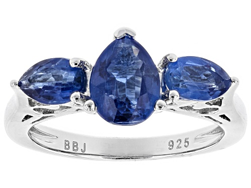 Photo of 2.40CTW PEAR SHAPE NEPALESE KYANITE WITH .05CTW ROUND WHITE ZIRCON STERLING SILVER RING - Size 9