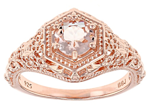 Photo of .57CT ROUND MORGANITE 18K ROSE GOLD OVER STERLING SILVER SOLITAIRE RING - Size 7