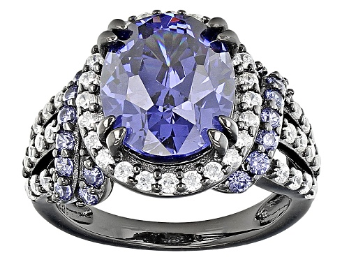Photo of Bella Luce®10.32ctw Esotica ™ Tanzanite And White Diamond Simulants Black Rhodium Over Silver Ring - Size 7