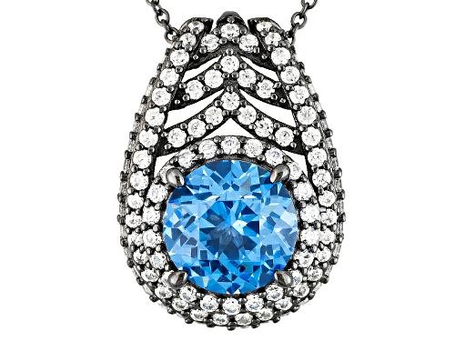 "Photo of Bella Luce®10.81ctw Blue/Wht Dia Simulants Black Rhodium Over S/S ""Palm Pendant"""