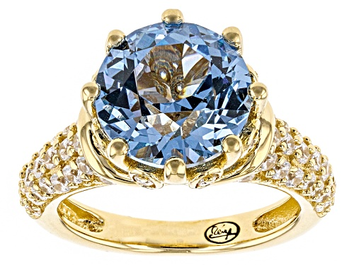 "Photo of Bella Luce®5.31ctw Blue/Wh Dia Simulants Eterno™Yellow""Spinel Solitaire Ring"" - Size 10"