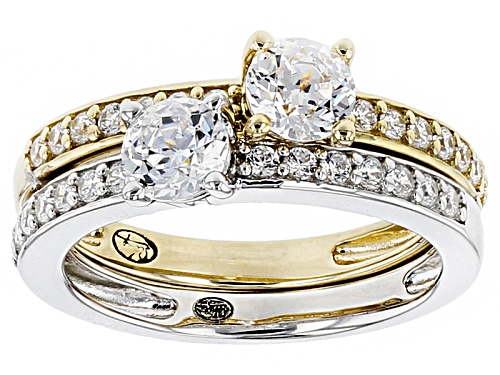 Photo of Bella Luce®2.22ctw White Diamond Simulant Rhodium Over Silver & Eterno™Yellow Ring Set - Size 10