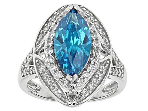 Photo of Bella Luce®5.18ctw Neon Apatite & Diamond Simulants Rhodium Over Sterling Ring - Size 5