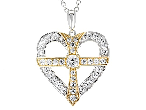 Photo of Bella Luce®1.74CTW Rhodium Over Silver & Eterno™Yellow Heart With Cross Pendant With Chain