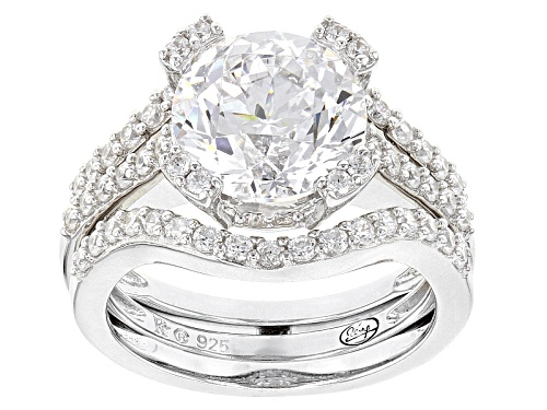 Photo of Bella Luce ® White Diamond Simulant Rhodium Over Sterling Ring With Guard - Size 11