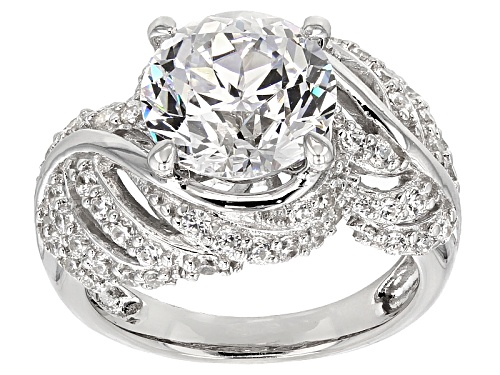 """Photo of Bella Luce® 7.82ctw Diamond Simulant Rhodium Over Silver """"Feather"""" Ring - Size 6"""